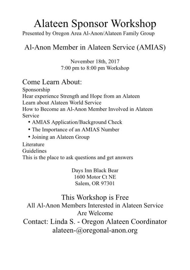 Alateen Sponsor Workshop Nov 2017